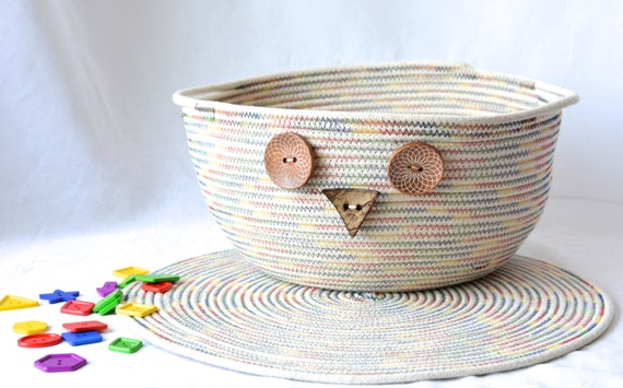 Rustic Owl Home Decor, Sale... Primitive Owl Basket and Matching Trivet, Handmade Country Bowl Set, Artisan Bowl Home Decor