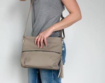 CROSSBODY FRINGE BAG, Leather Tassels Cappuccino Crossbody Leather Bag Leather Purse Crossbody Leather Shoulder Bag Everyday Bag Gift