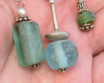 Blue or Green Frosted Handmade Beach Glass Earrings. Sterling Silver. 8 to choose from!  free US ship
