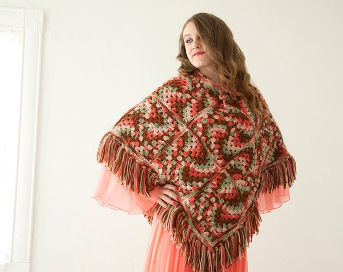 Vintage crochet poncho, salmon orange brown green swirl shawl, fringe, boho granny-square sweater 1970s