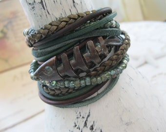 Boho Leather and Copper fish Wrap Bracelet, Multi Strands of Leather and beads in shades of natural browns, tans, greens and copper!