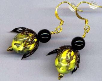 Bee Earrings . Beekeeping Style . Medium Ceramic Beads Earrings . Black Crystals . Brass wings - Little Bee by enchantedbeas on Etsy
