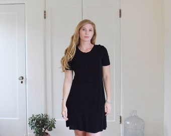 Black Vintage Slinky Short Sleeve Scoop Neck Pullover Dress Womens
