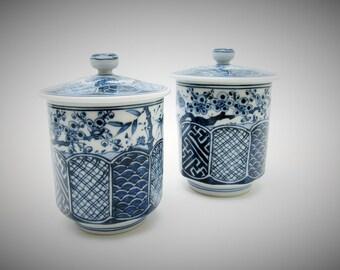 Yunomi/ Pair Tea cups With lid.Kiyomizu ware.Japanese Porcelain.by Zuisho Iwamoto.1970's.#ynm28.msjapan.Hand painted