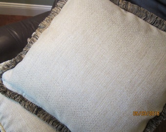"Throw pillow in golden tan chenille fabric 20x20"" with brush fringe trim"