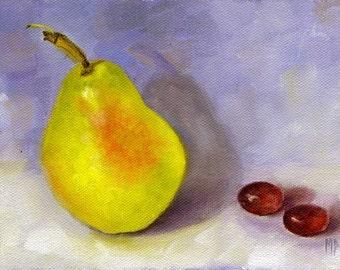 Original Painting Pear, Kitchen art, Still life painting, kitchen decor, oil painting, Wall decor