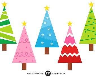 50% OFF SALE! Christmas Tree Clip Art, Christmas Clipart, Whimsical Clip Art - Commercial Use, Instant Download