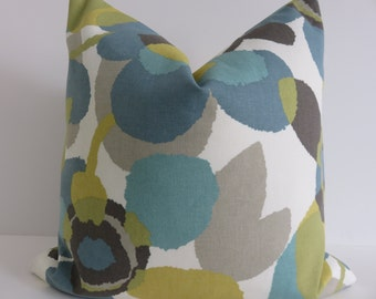 Decorative Pillow Covers- Aqua Green Ivory Yellow Light Gray and Taupe - Floral Pillows -Teal Pillow Covers-Turquoise Pillows- Pillow covers