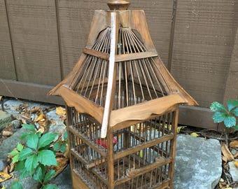 Vintage Birdcage Teak Wood Hanging Bird Cage French Aviary Topiary Garden Decor