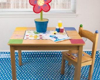 "Splat Mat/Tablecloth ""Blue Lollipop Flowers "" - Laminated Cotton BPA  & PVC Free - Choose Your Size below!"
