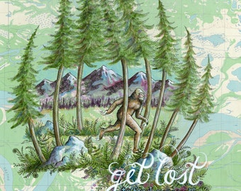 Bigfoot - Get Lost art on topo map, Outdoorsy art print, wild PNW hikers illustration, trail runner painting, Sasquatch illustration print