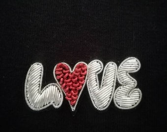 embroidered patch love silver #broderie love