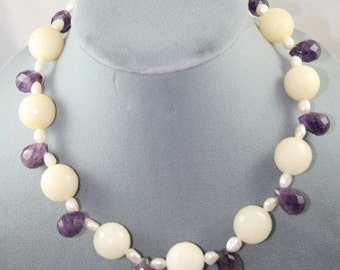 White Agate necklace purple Amethyst