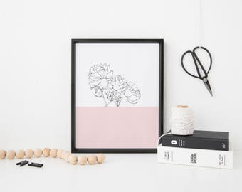 A4 Pink Peony Print