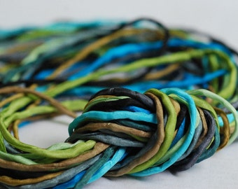 2mm Silk Cord Set of 10 silks in Blue Green Waters Color Palette by Marsha Neal Studio Craft Supplies Jewelry Supplies
