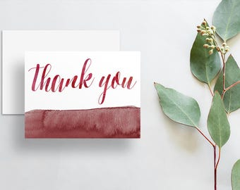 Instant Download Watercolor Calligraphy Thank You Cards / Dark Red Crimson Red Watercolor / Digital Print-at-Home Thank You Card