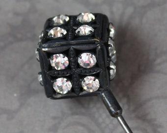 Vintage Clear Rhinestone Black Die or Cube Hat Pin