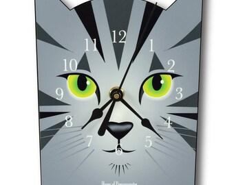 Light Grey Tabby Cat Clock, wall clock or table clock
