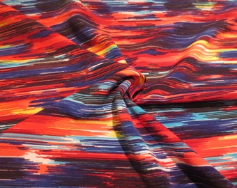 Fabulous Colorful Striated Print Polyester Shantung Fabric--By the Yard