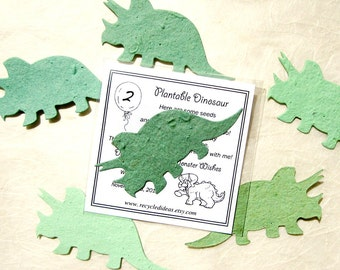 20 Dinosaur Seed Paper Birthday Party Favors - Plantable Paper Triceratops - Kids Dinosaur Party Favors