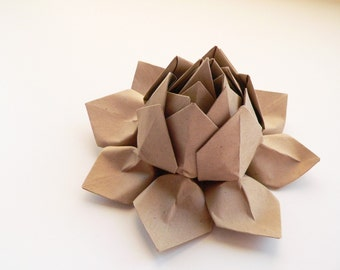 Origami Lotus Flower - handmade paper flower - paper bag tan color - Father's Day, graduation, decoration