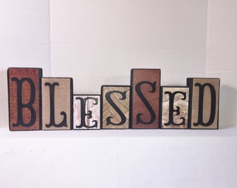 Rustic Wood Home Decor  -- BLESSED -- Home Decor -- Neutral Colors