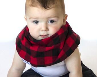 "Modern Bib (Red Black Checks) All in One Scarf & Bib ""Scabib""tm for babies or toddlers"