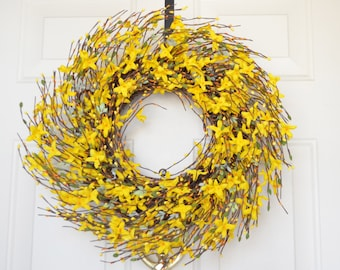Yellow Silk Flower Forsythia Wreath for Spring Front Door