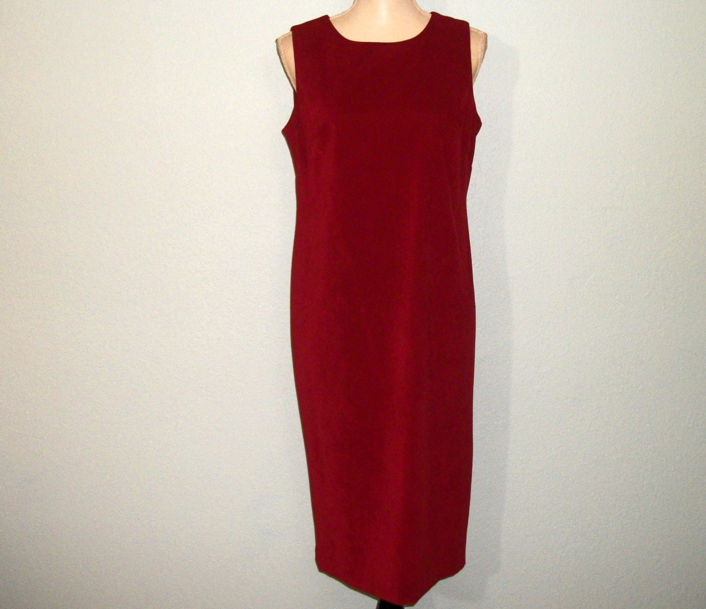 Pullover Kleid ärmelloses Kleid tief rot Veloursleder Größe 8