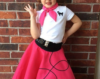 6 pc 50's POODLE SKIRT OUTFIT for Youth - 10 12 14 16 - Choose size/color