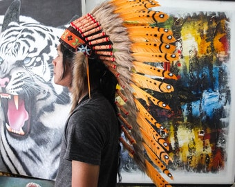 The Original - Real Feather Orange Chief Indian Headdress Replica 90cm, Native American Style Costume Hand Made War Bonnet Hat