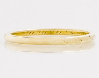 Antique Wedding Band - Antique 14k Yellow Gold Engraved 1920 Wedding Band