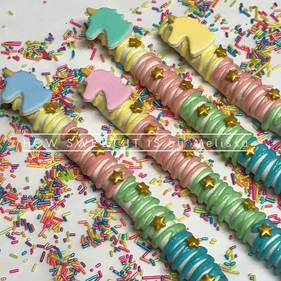 Unicorn Themed Chocolate Covered Pretzel Rods 1 Dozen