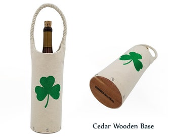 Shamrock - Embroidered Wine Tote with Cedar Wooden Base, St Patricks, Green, Irish