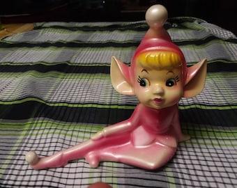 Big-Eared Vintage Ceramic Pink Elf / Pixie