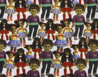 africanamerican girl doll fabric