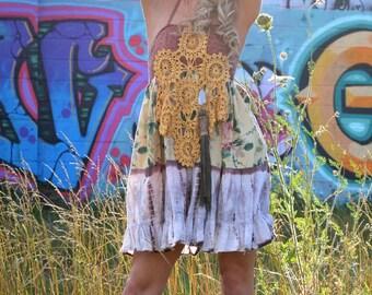 Salvage apparel short boho dress. Size  SMALL. Upcycled dress, mini halter dress, summer of love dress, hippie dress, bohemian dress,
