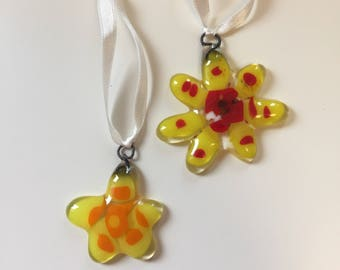 Set of 2 Flower ornaments 'Yellow'