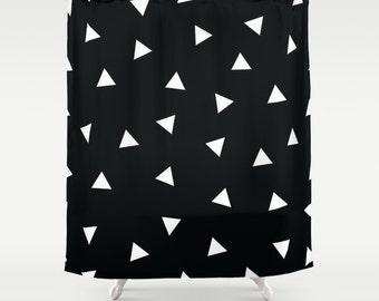 Triangles Shower Curtain, Kids Bathroom Decor, Geometric, Black and White, Boys Shower Curtain, Girls Bathroom Decor, Kids Bath Curtain