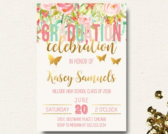 Graduation Invitation | Graduate Party 2018 | Class of | College | High School |  Garden Party Floral | Template Printable