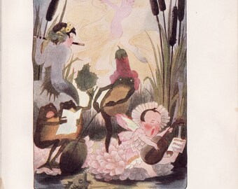 Antique Victorian Art Print-Book Plate-Lithograph-Fairies-Jolly Marsh Fairies-Frog Playing Instruments-Artist Penny Ross-1914