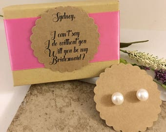 Bridesmaids Genuine Freshwater Pearls Sterling Silver Pearl Studs Wedding Jewelry