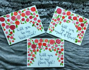 Will You Be My Bridesmaid Card / Hand Painted Bridesmaid Cards / Bridesmaid Proposal Card / Personalized Bridesmaid Card