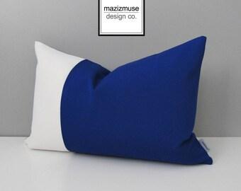 Decorative Blue & White Outdoor Pillow Cover, Modern Color Block Pillow Cover, Royal Blue Pillow Cover, True Blue Sunbrella Cushion Cover