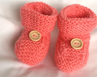 Baby booties, bootees, girls, coral, sizes 0-12 months, baby gift ideas