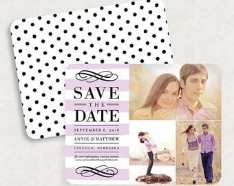 Purple Save the Dates, Save the Date Cards, Stripe Save the Dates, Polka Dot Save the Dates, Photo Save the Dates, Printable Save the Dates
