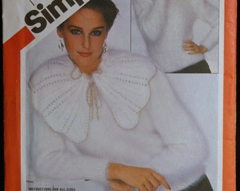 Knitting Pattern Simplicity 5307 Misses Knit Pullover Sweater and Capelet Collar Pattern