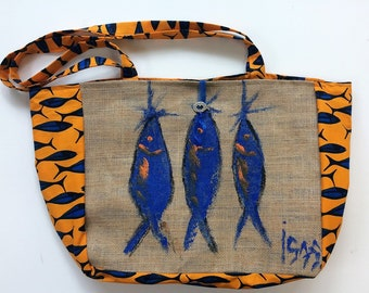 Burlap sack, bag fish