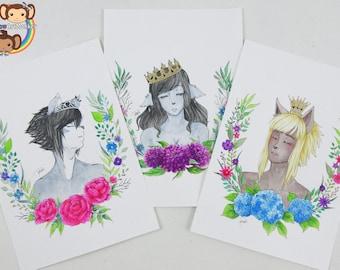 Original Art - floral+crown - Inktober 2017