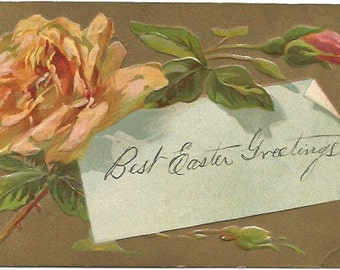 Single Peach Rose  over Note Easter Greetings 1909  Railroad Postage 1 Cent Canada over 100 Years old! Vintage Postcard